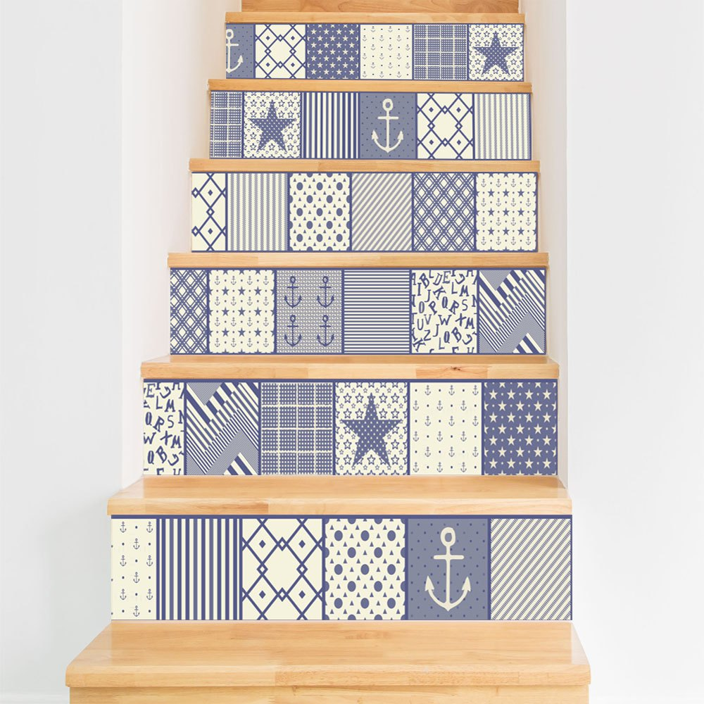 Mixed Color 108 X 100cm Symbol Of Blue And White Style Stair Sticker