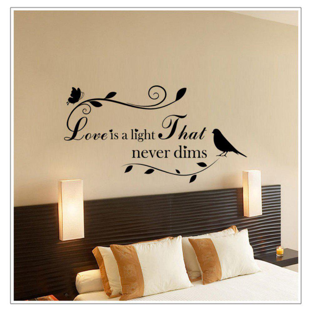 DSU Love Is Light That Never Dims English Quote Art Wall StickersHOME<br><br>Color: BLACK; Brand: DSU; Type: Plane Wall Sticker; Subjects: Fashion,Letter; Art Style: Plane Wall Stickers; Sizes: Others; Color Scheme: Black; Function: Decorative Wall Sticker; Material: Vinyl(PVC); Suitable Space: Bathroom,Bedroom,Boys Room,Cafes,Dining Room,Game Room,Girls Room,Hotel,Kids Room,Kids Room,Living Room,Office,Study Room / Office; Layout Size (L x W): 47 x 90cm; Effect Size (L x W): 47 x 90cm; Quantity: 1;