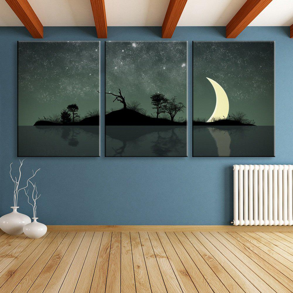 Impression sur toile de LED Stretched Art Crescent Flash fibre optique - 3pcs