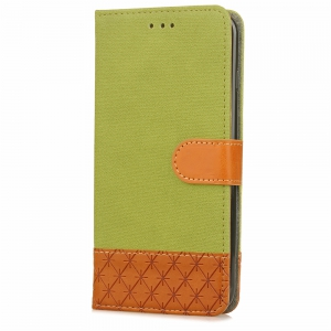 Hit Color Cowboy Stripe Leaf Card Lanyard PU Leather for iPhone X -