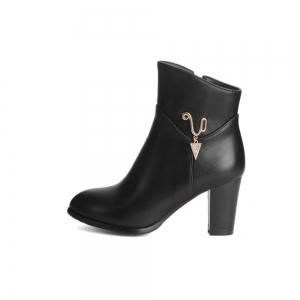 Women's Boots Solid Color Metal Decoration High Heel Shoes -