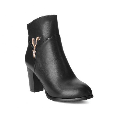 Trendy Women's Boots Solid Color Metal Decoration High Heel Shoes