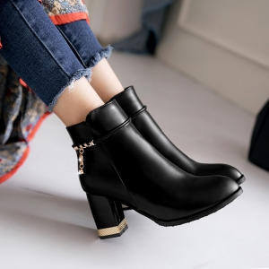 Women's Bottine PU Material Rubber Sole Fashion Design High Heels Side Zipper Shoes -