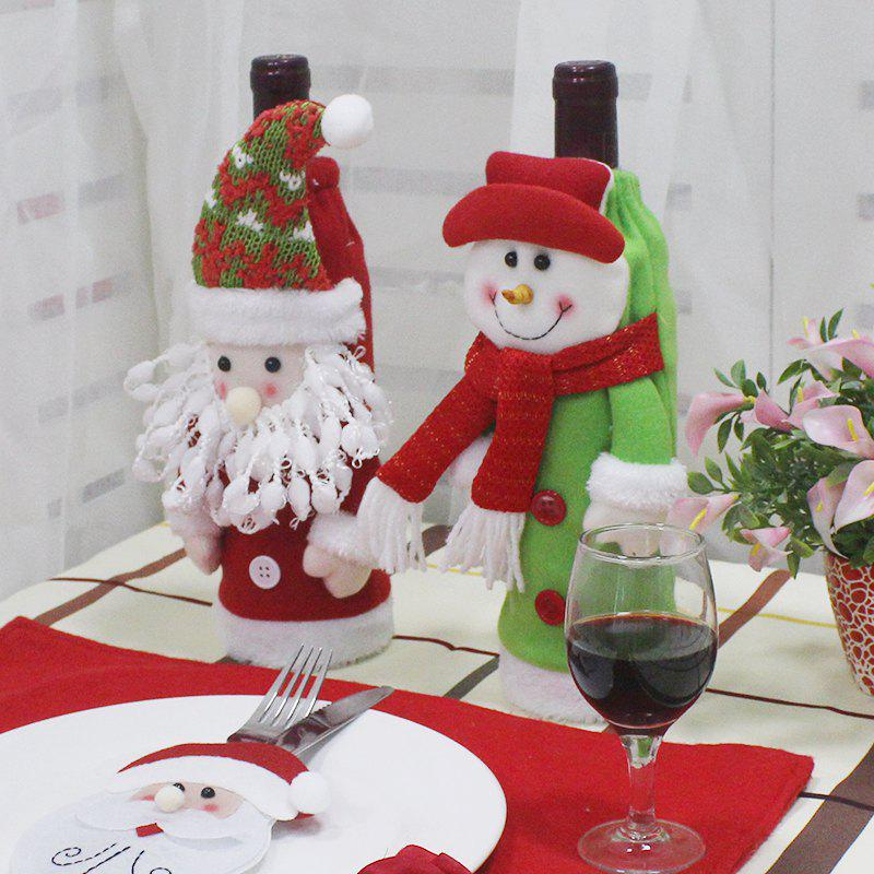 WS 0096 Creative Embroidery Old Man Snowman Christmas Tree Wine Set Gift BagHOME<br><br>Color: IVY;