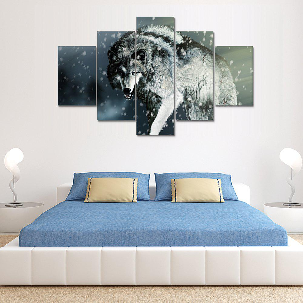Fancy Wolf Canvas Print Wall Rrt Painting for Home Decor 5pcs