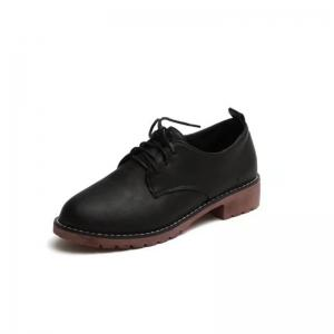 YQ-WA85 Round All-Match Tie with Coarse Small Leather Shoes Casual Shoes -