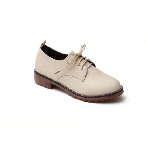 Shop YQ-WA85 Round All-Match Tie with Coarse Small Leather Shoes Casual Shoes