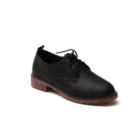 Outfit YQ-WA85 Round All-Match Tie with Coarse Small Leather Shoes Casual Shoes