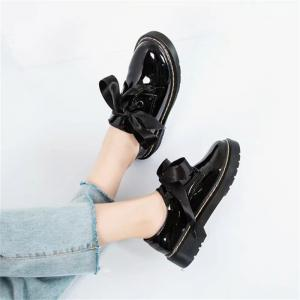 YQ-W800 Round Headed Bow Tie Flat Bottom Shoes Small Leather Shoes -