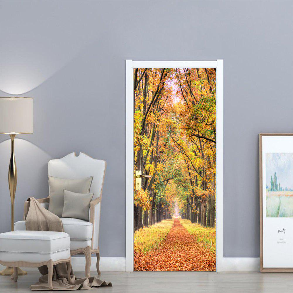 YUNYU  Fall Forest Style 3D Door Landscape Wallpaper  Sticker Wall DecorHOME<br><br>Color: COLORMIX;
