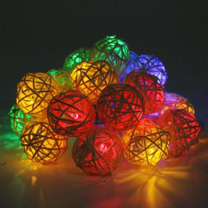 JIAWEN LED String Light 4m 20 LEDs Fairy Rattan Balls for Holiday Christmas Wedding Decoration Party -