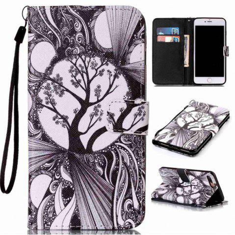 Shop Black and White Trees Painted PU Phone Case for Iphone 7 Plus / 8 Plus