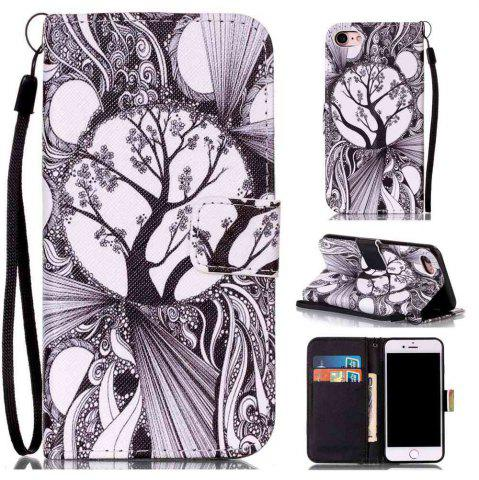 Trendy Black and White Trees Painted PU Phone Case for Iphone 7 / 8