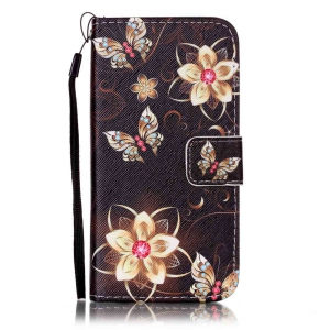 Golden Butterfly Painted PU Phone Case for Iphone 7 / 8 -