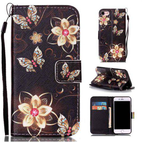 Buy Golden Butterfly Painted PU Phone Case for Iphone 7 / 8