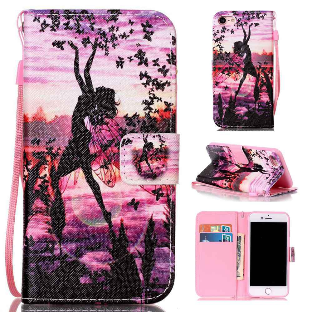 Online Butterfly Girl Painted PU Phone Case for Iphone 7 / 8