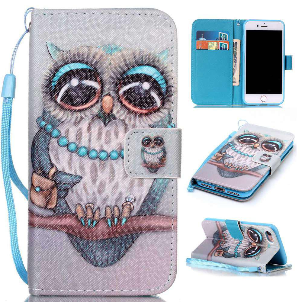 Affordable Gray Owl Painted PU Phone Case for Iphone 7 / 8