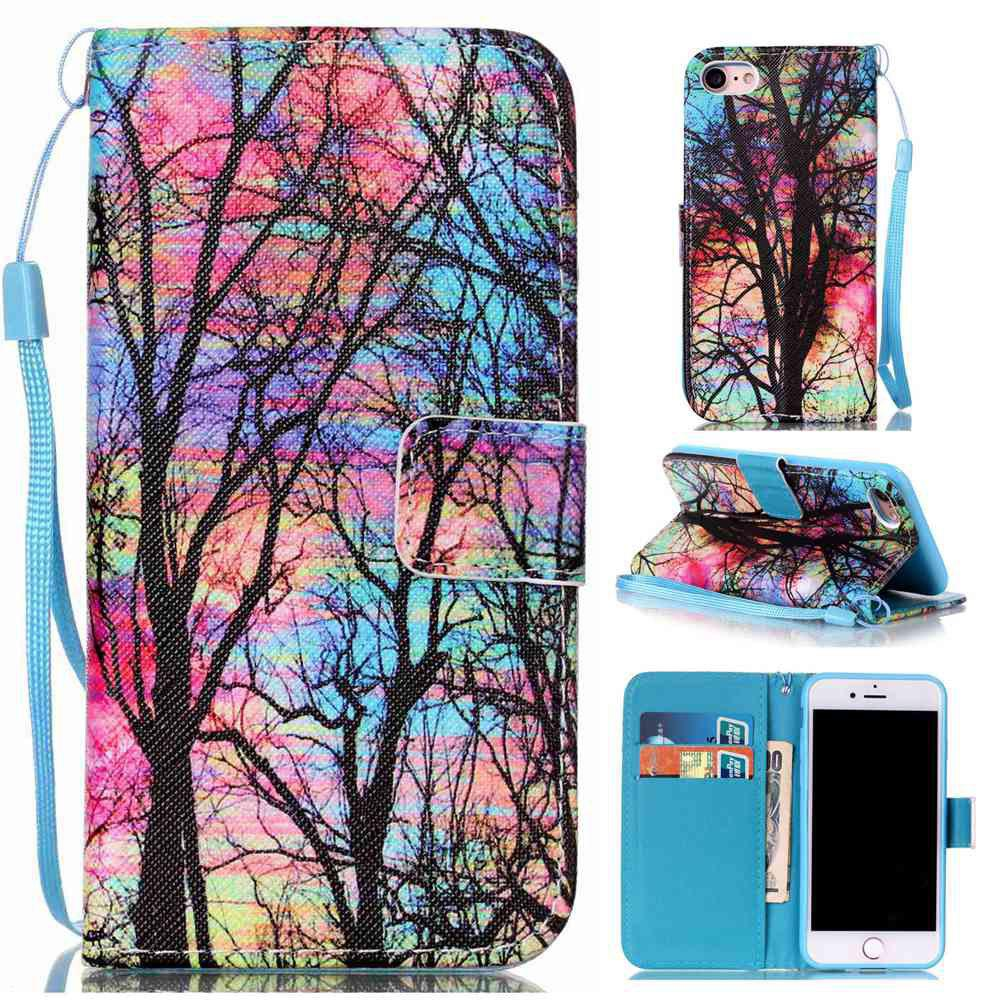 Shop Colored Tree Painted PU Phone Case for Iphone 7 / 8