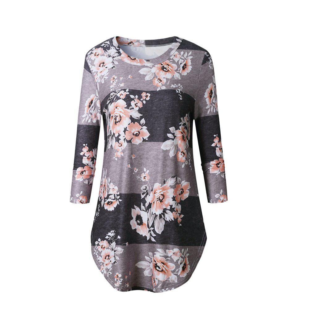 2017 New Autumn Long-Sleeved Floral Print Top T-ShirtWOMEN<br><br>Size: XL; Color: COFFEE;