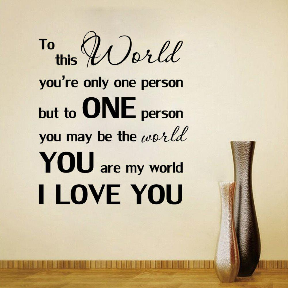 You are My World I Love You Wall StickerHOME<br><br>Size: 51 X 57 CM; Color: BLACK;