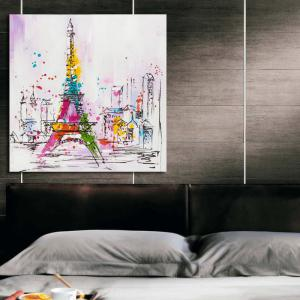 Happy Art Handed Top Grade Canvas Eiffel Tower Oil Painting Wall -
