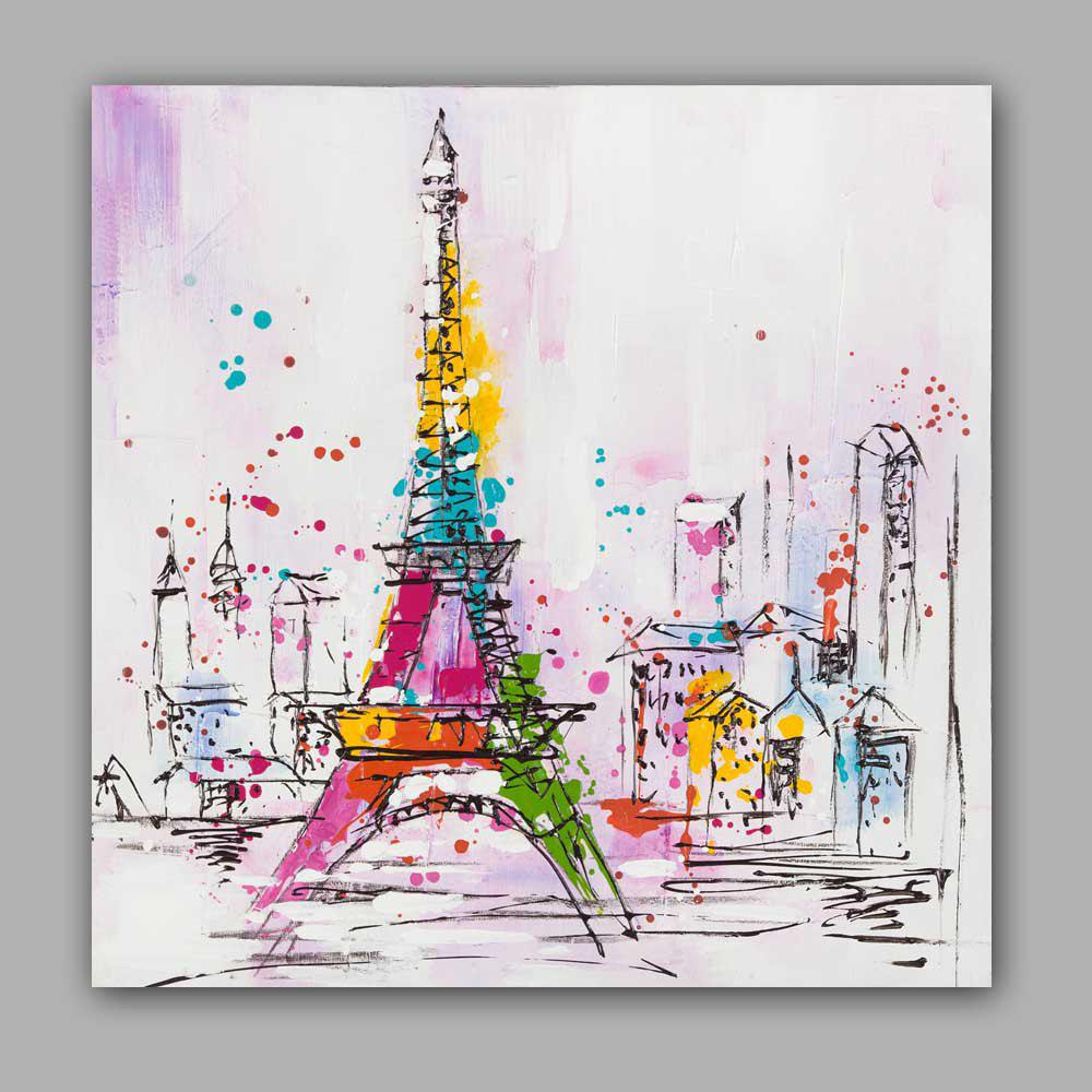 Chic Happy Art Handed Top Grade Canvas Eiffel Tower Oil Painting Wall