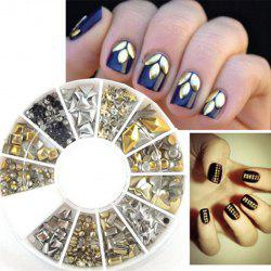 240PCS Nail Art Mixed Rivet Shapes Acrylic Rhinestone Nail Art Decorations -