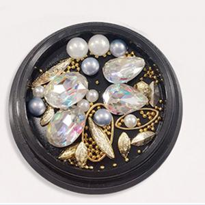 1 Box Decorative Big Color Intrigue Jewel Pearl Accessories Mixed Style  Nail Art Decoration 80PCS -