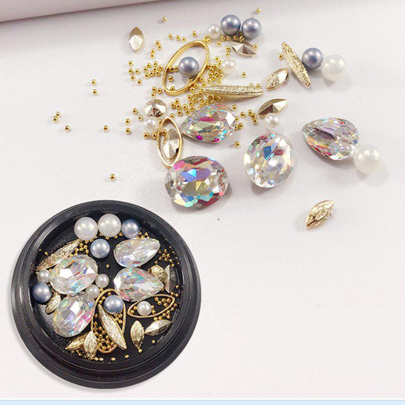 Fancy 1 Box Decorative Big Color Intrigue Jewel Pearl Accessories Mixed Style  Nail Art Decoration 80PCS