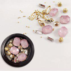 1 Box Decorative Big Tetragonum Pink Jewel Pearl Accessorie Mixed Style  Nail Art Decoration 80PCS -
