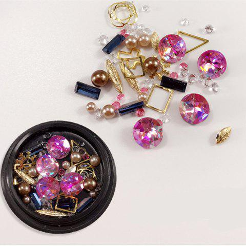 Outfit 1 Box Decorative Big Jewel Metal Pearl Accessories Mixed Style  Nail Art Decoration 80PCS
