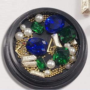 1 Box Decorative Sapphire Blue Big Jewel Pearl Accessories Mixed Style  Nail Art Decoration 80PCS -