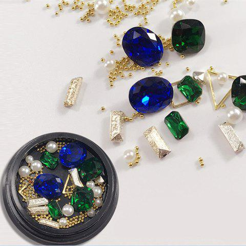 Hot 1 Box Decorative Sapphire Blue Big Jewel Pearl Accessories Mixed Style  Nail Art Decoration 80PCS