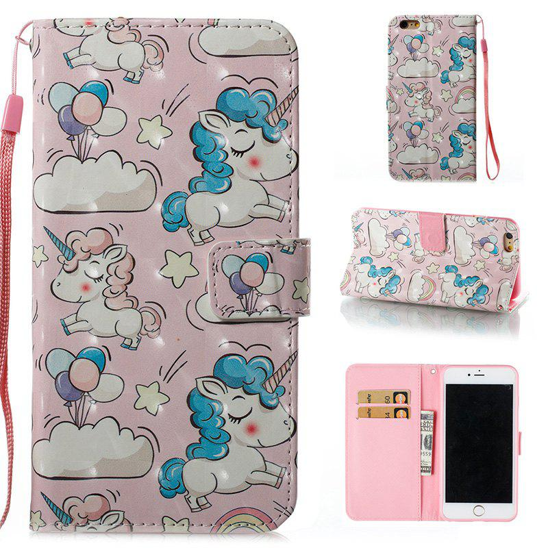 Wkae 3D Stereo Painted Leather Case for iPhone 6 Plus / 6S PlusHOME<br><br>Color: PINK + BLUE;