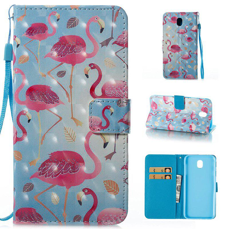 Outfits Wkae 3D Effect Painted Leather Case Cover for Samsung Galaxy J730