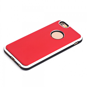 TPU Metal Back Shockproof Anti-Scratch Cover Case for iPhone 6 / 6S -