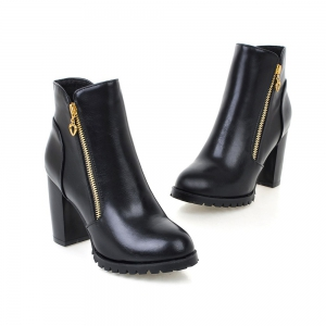 Women's Boots Solid Color Plain Style All-match Thick Heel Shoes -