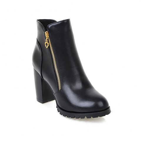 Shops Women's Boots Solid Color Plain Style All-match Thick Heel Shoes