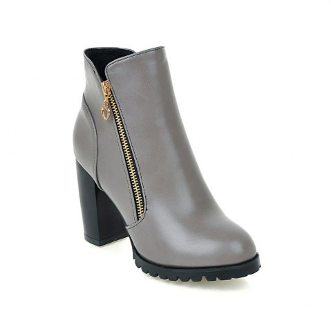 Sale Women's Boots Solid Color Plain Style All-match Thick Heel Shoes