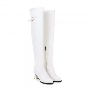 Women's Above Knee Boots Solid Color PU Leather All-match Comfy Boots -