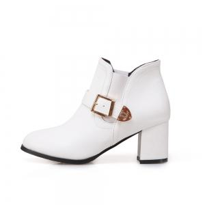 Women's Boots Solid All-match Thick Heel Round Toe Ankle Shoes -