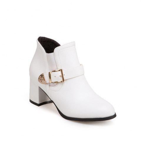 Buy Women's Boots Solid All-match Thick Heel Round Toe Ankle Shoes