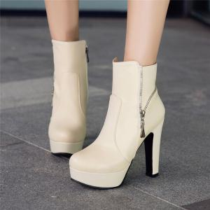 Women's Ankle Boots Stylish Solid Color Thick Heel Platform Zipper Design Elegant Shoes -