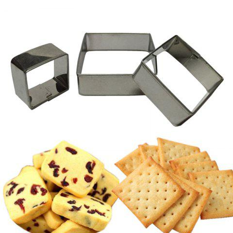 Unique WS Stainless Steel Square Mousse Ring 3D Biscuit Cookie Cutter Mold DIY Baking Pastry Tools 3PCS