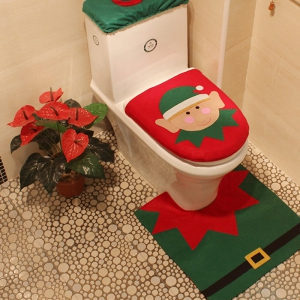 WS 0091 Bathroom Toilet Cover Set Gift and Decoration for Christmas and New Year -