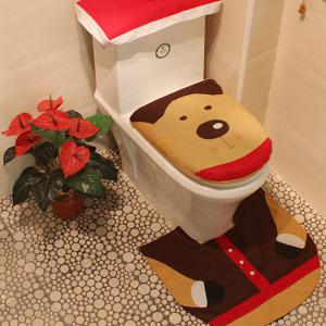 WS 0092 Bathroom Toilet Cover Set Gift and Decoration for Christmas and New Year -