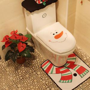 WS 0093 Bathroom Toilet Cover Set Gift and Decoration for Christmas and New Year -