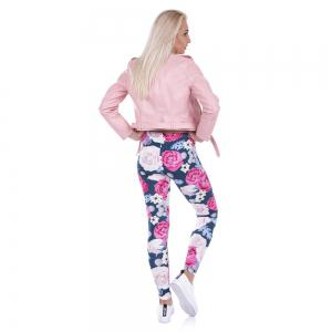 Femmes Mode Casual Basic Roses sauvages fleurs roses imprimé taille haute 95% polyester 5% Spandex Fit Legging -