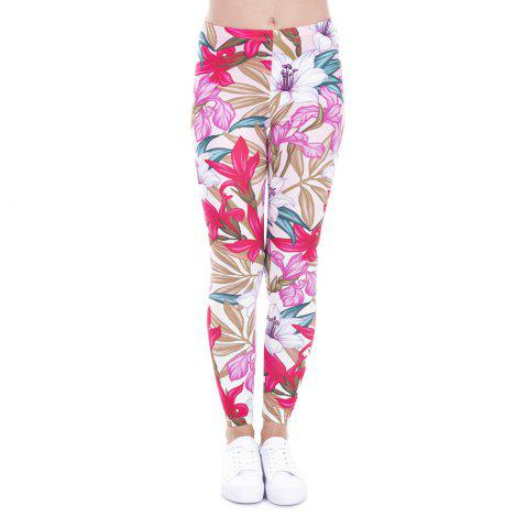 Femmes Mode Casual Basic Roses sauvages fleurs roses imprimé taille haute 95% polyester 5% Spandex Fit Legging