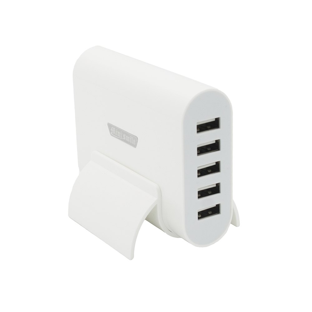 Minismile Universal 40W 5-USB Port 5V 8A Horizontal Type Charger with HolderHOME<br><br>Size: EU; Color: WHITE;
